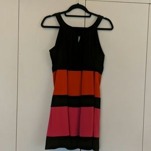 Sleeveless multicolored striped dress